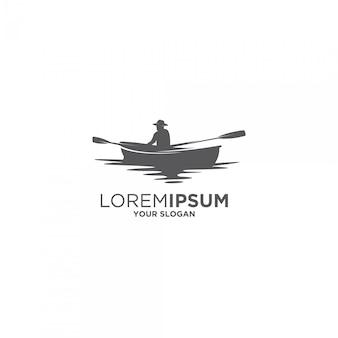 Logo de bateau kayak vintage