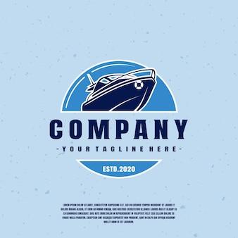 Logo de bateau à moteur bleu premium