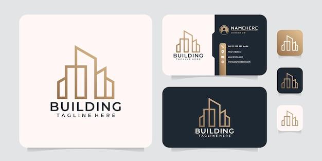 Logo de bâtiment d'architecture de ligne de luxe de monogramme
