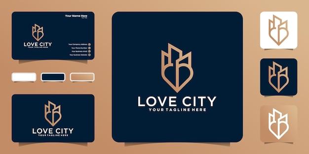 Logo de bâtiment et de coeur dans le style de dessin au trait et inspiration de carte de visite