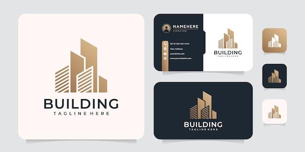 Logo de bâtiment immobilier de luxe doré