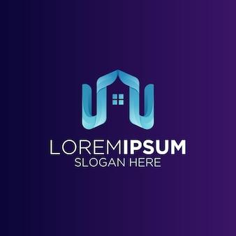 Logo de bâtiment immobilier minimaliste créatif