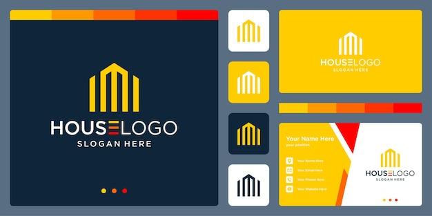 Logo de bâtiment inspirant avec la lettre m. vecteur premium