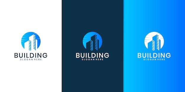 Logo de bâtiment, logo immobilier minimaliste, modèle de conception de logo de bâtiment de luxe