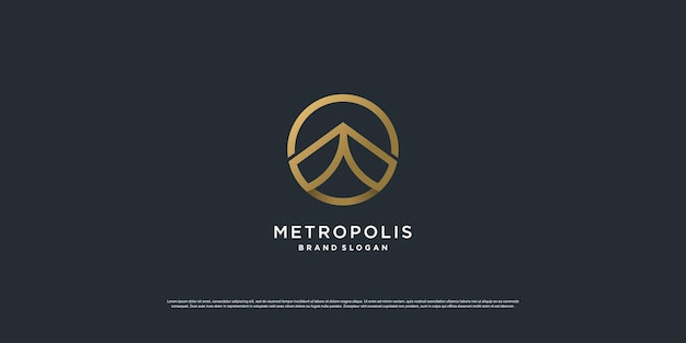 Logo de bâtiment de luxe avec concept de cercle doré vecteur premium