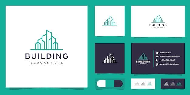 Logo de bâtiment minimaliste et carte de visite.