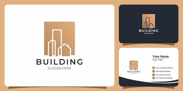 Logo de bâtiment minimaliste avec création de logo de style art en ligne et modèle de carte de visite