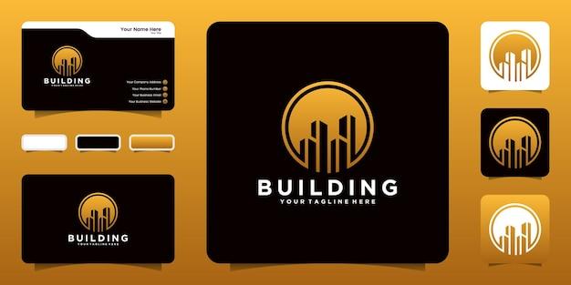 Logo De Bâtiment De Silhouette Avec L'inspiration De Cercle Et De Carte De Visite Vecteur Premium