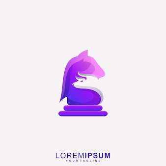 Logo de batte d'échecs de cheval génial