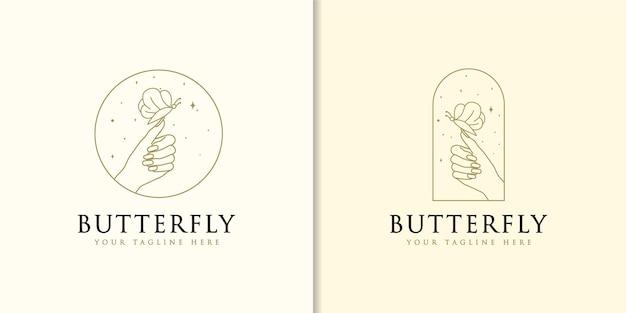 Logo de beauté boho avec des ongles papillon féminins à la main