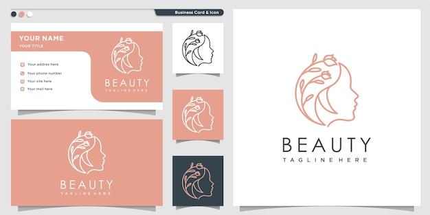 Logo de beauté avec concept de fleur créative vecteur premium