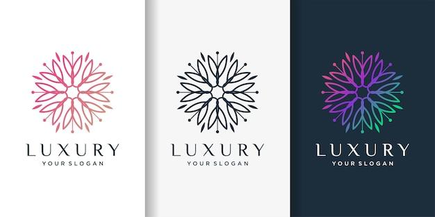Logo de beauté avec concept de luxe élégant, modèle