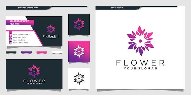 Logo de beauté avec un dégradé coloré unique et un modèle de conception de carte de visite vecteur premium