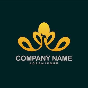 Logo de beauté du paon à l'intérieur des pétales de fleur de lotus