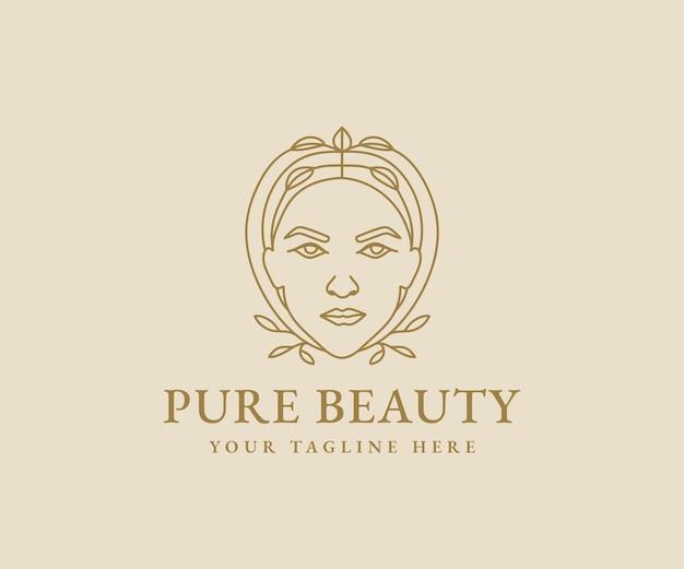 Logo beauté féminine visage femme art minimaliste portrait dessiné à la main pour le maquillage mode et spa