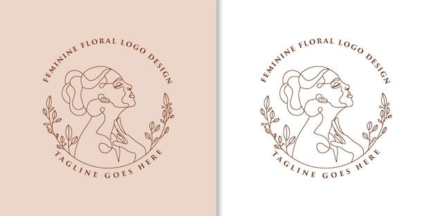Logo beauté féminine visage de femme art minimaliste portrait dessiné à la main