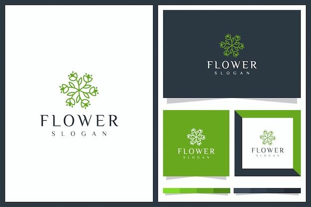 Logo de beauté avec une fleur minimaliste