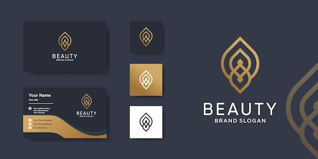 Logo de beauté de luxe avec un style d'art en ligne créatif vecteur premium