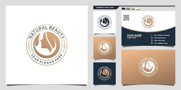 Logo de beauté naturelle avec un concept moderne unique et un design de carte de visite vecteur premium