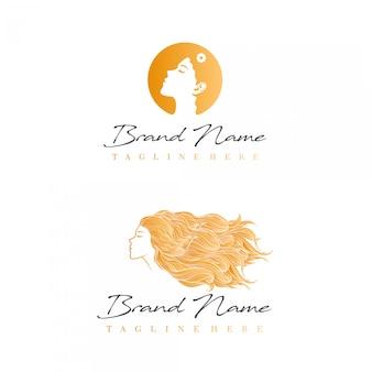 Logo de beauté avec photo de belle femme de côté