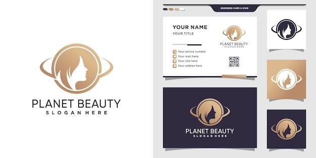 Logo de beauté de planète pour la conception de femme et de carte de visite
