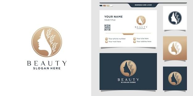 Logo de beauté pour femme avec concept de cercle et conception de carte de visite