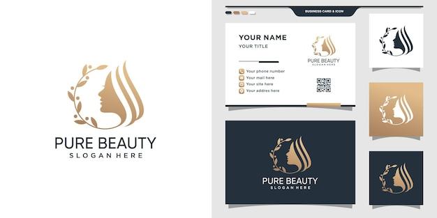 Logo de beauté pour femme avec un concept moderne créatif. conception de logo et carte de visite femme