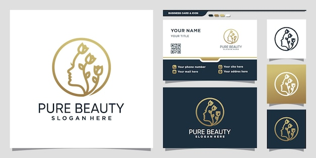 Logo de beauté pure avec style de dessin au trait et conception de carte de visite vecteur premium