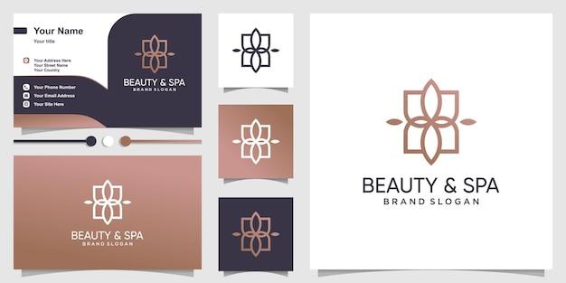 Logo de beauté et spa avec un style abstrait créatif vecteur premium