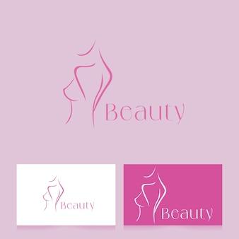 Logo de beauté et spa avec style de dessin au trait
