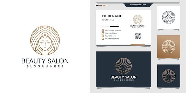 Logo de beauté avec visage de femme dans le style d'art en ligne