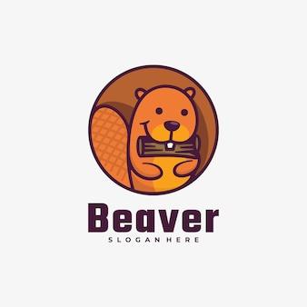 Logo beaver style de mascotte simple.