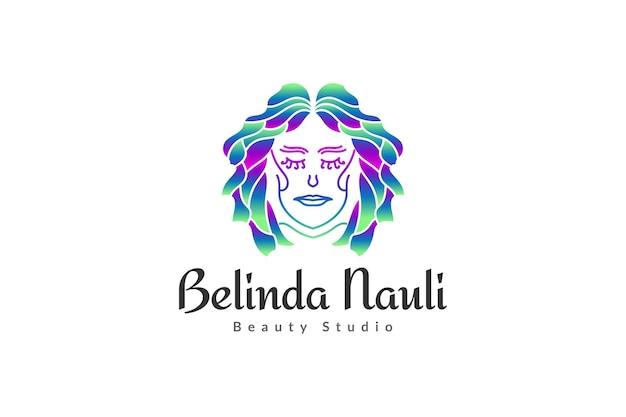 Logo de belle femme avec une coiffure élégante en dégradé coloré et concept linéaire pour les logos de mode, de salon, de cosmétique ou de beauté