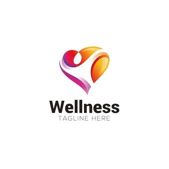 Logo bien-être abstrait humain et coeur