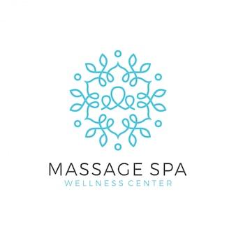 Logo de bien-être avec un design moderne simple et propre avec un style d'art en ligne élégant pour le massage yoga ou le spa