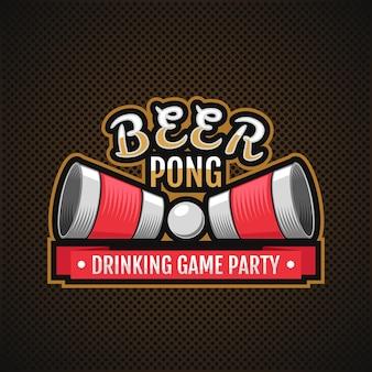 Logo de bière pong. fête de jeu à boire