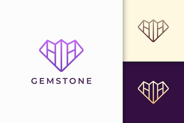 Logo de bijou ou bijou de luxe en forme de diamant