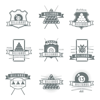 Logo de billard gris et isolé serti de descriptions de salle de billard et de club