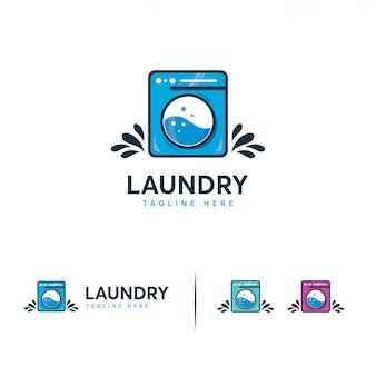 Logo de blanchisserie, logo de machine à laver