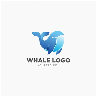 Logo bleu baleine à bosse