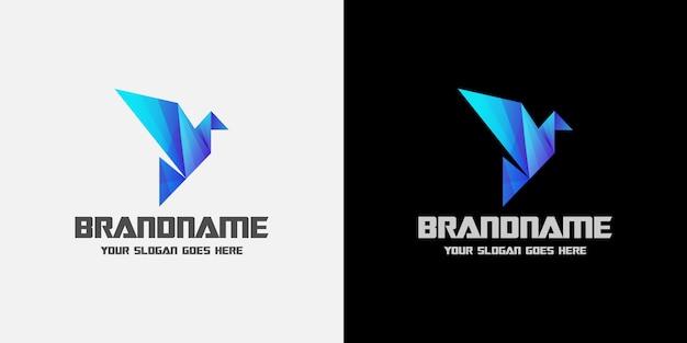 Logo bleu oiseau numérique origami
