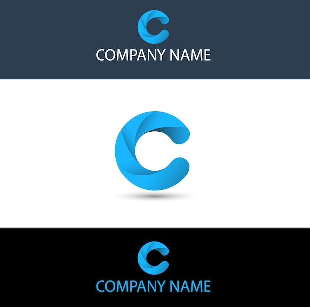 Logo bleu simple lettre c