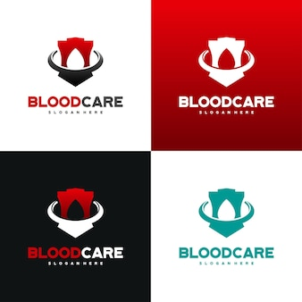 Le logo blood shield conçoit le vecteur de concept, modèle de conception de logo blood care avec variation de couleur