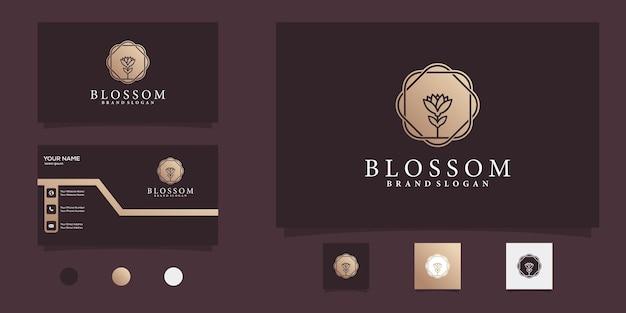 Logo blossom pour la beauté et le spa avec un dégradé de couleur or vecteur premium