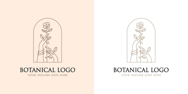 Logo boho beauté féminine avec main féminine tenant une fleur logo naturel marque premium
