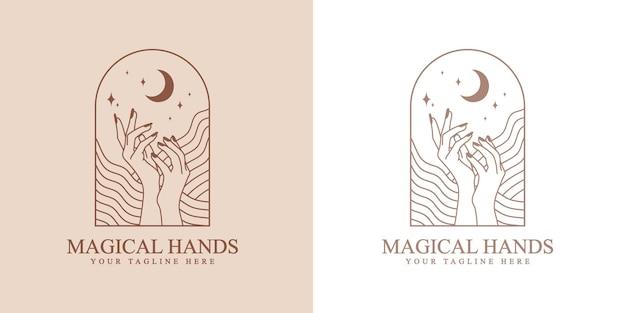 Logo boho de beauté féminine avec des vagues de main féminine ongles étoiles de lune pour la marque de soins de la peau de beauté