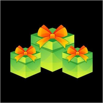 Logo de boîte de cadeau de noël de vecteur
