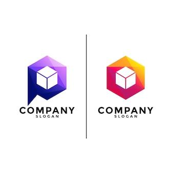 Logo de boîte de cube