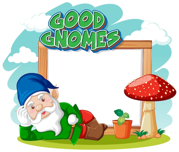 Logo de bons gnomes avec bannière vierge sur blanc
