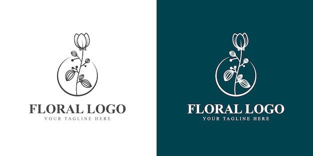 Logo botanique floral féminin dessiné à la main